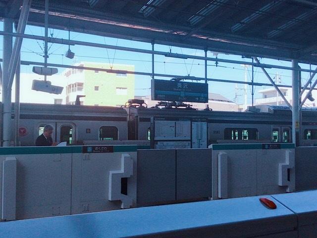奥沢小学校 駅のホームと車両